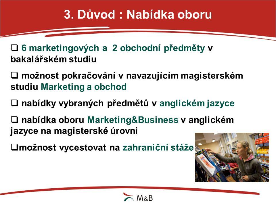 3. Důvod : Nabídka oboru 6 marketingových a 2 obchodní předměty v bakalářském studiu.