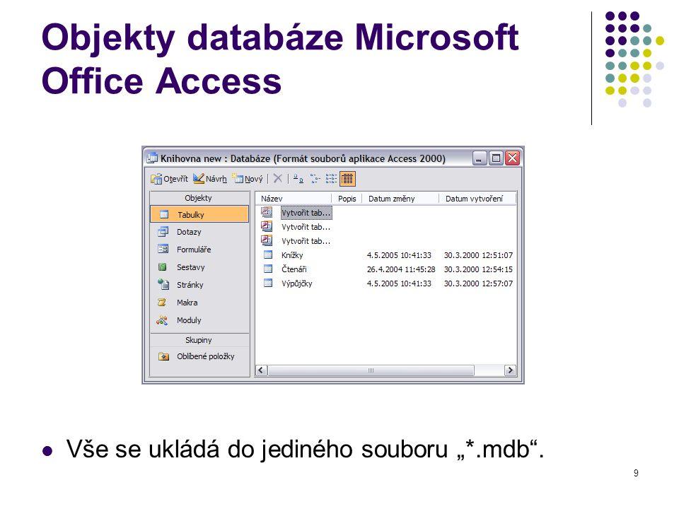 Objekty databáze Microsoft Office Access