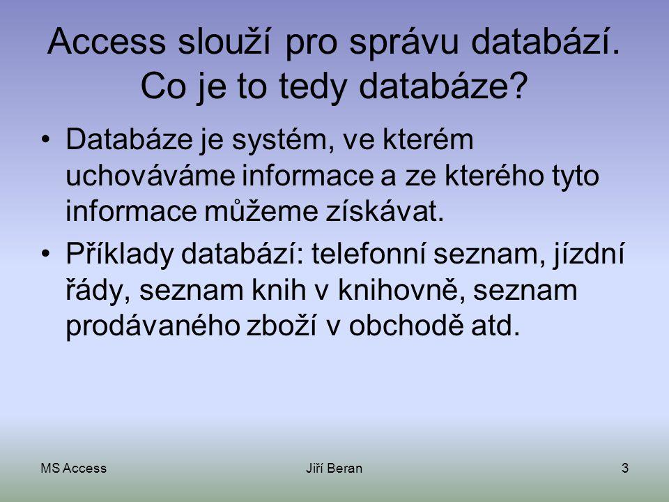 Access slouží pro správu databází. Co je to tedy databáze