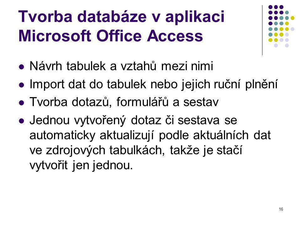 Tvorba databáze v aplikaci Microsoft Office Access