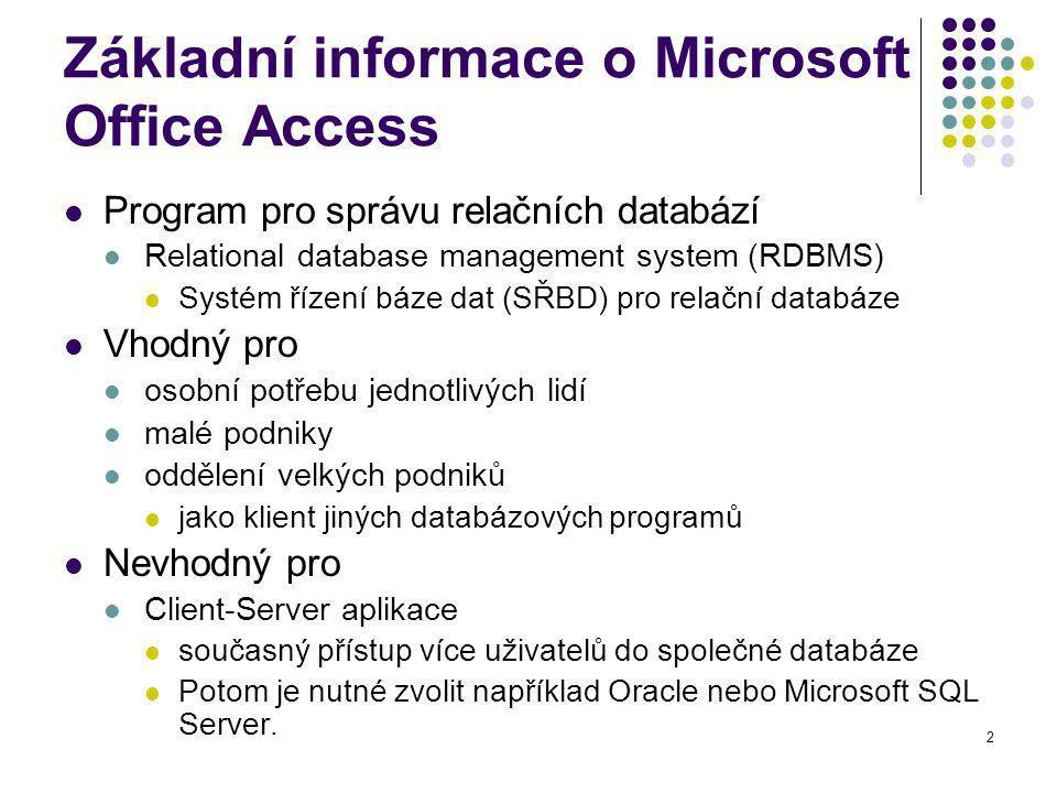 Základní informace o Microsoft Office Access