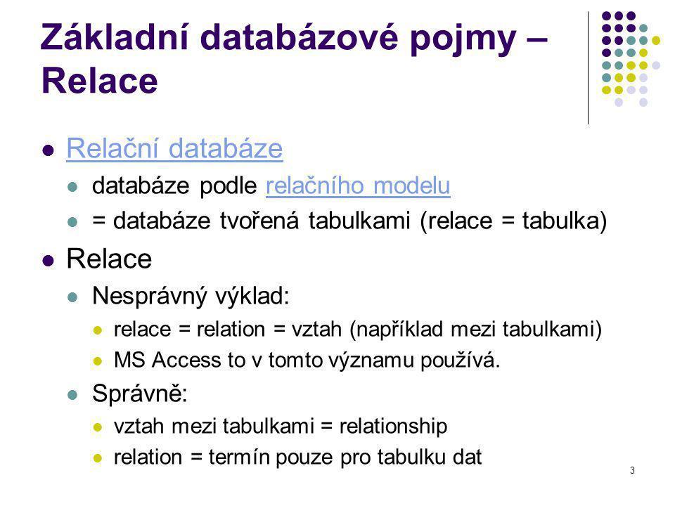 Základní databázové pojmy – Relace