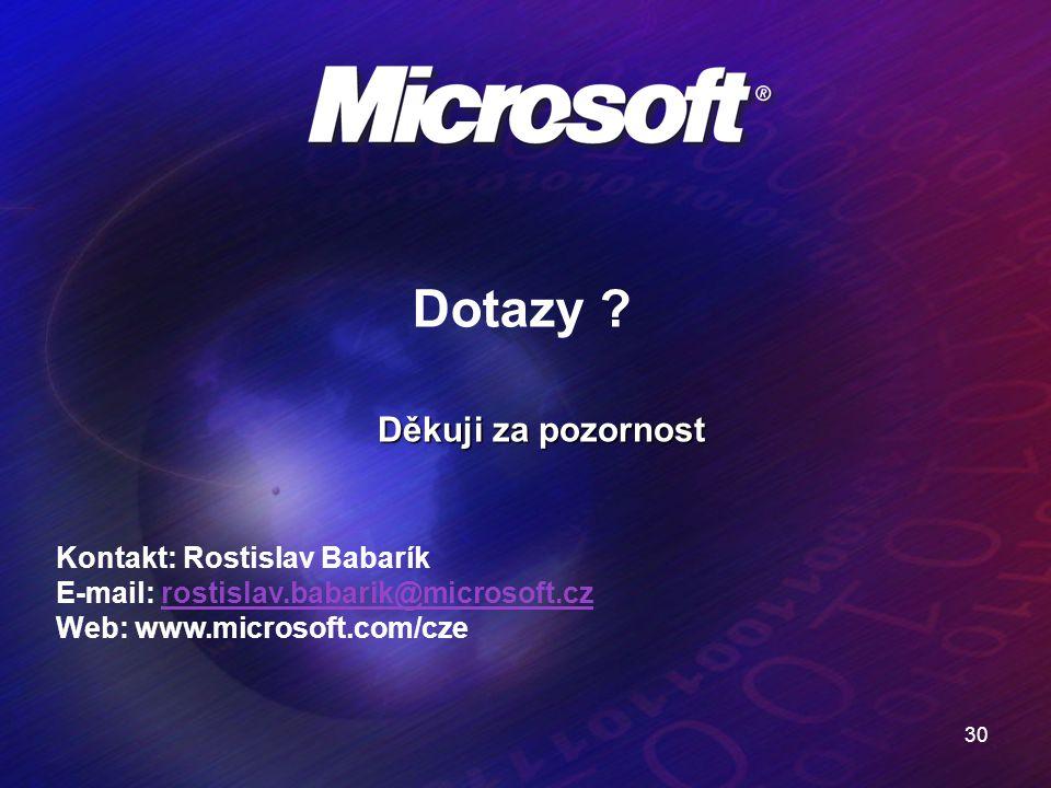 Dotazy Děkuji za pozornost Kontakt: Rostislav Babarík