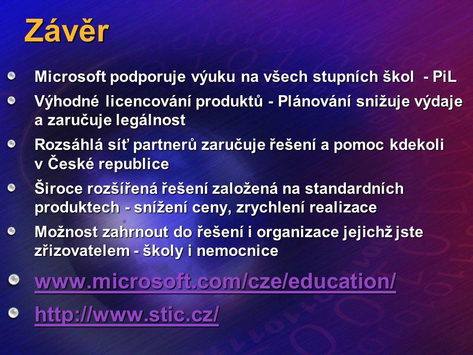 Závěr www.microsoft.com/cze/education/ http://www.stic.cz/