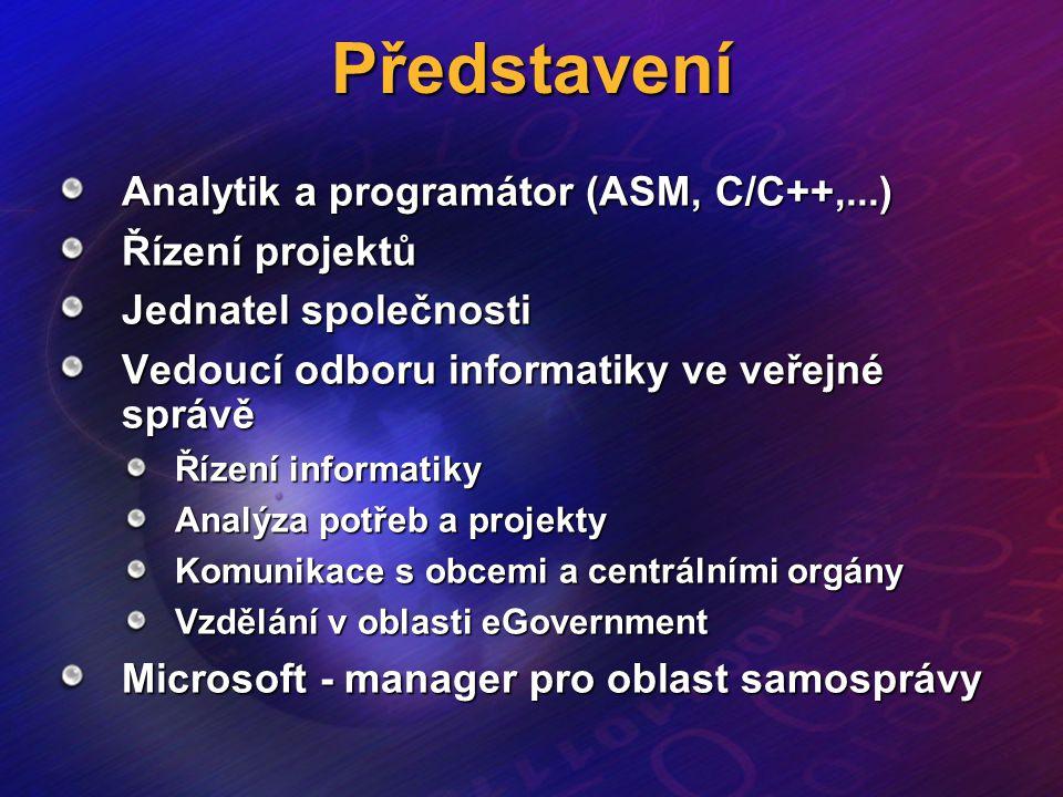 Představení Analytik a programátor (ASM, C/C++,...) Řízení projektů