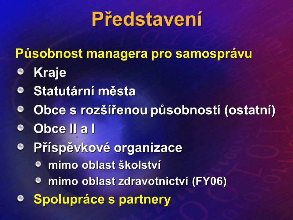 Představení Působnost managera pro samosprávu Kraje Statutární města