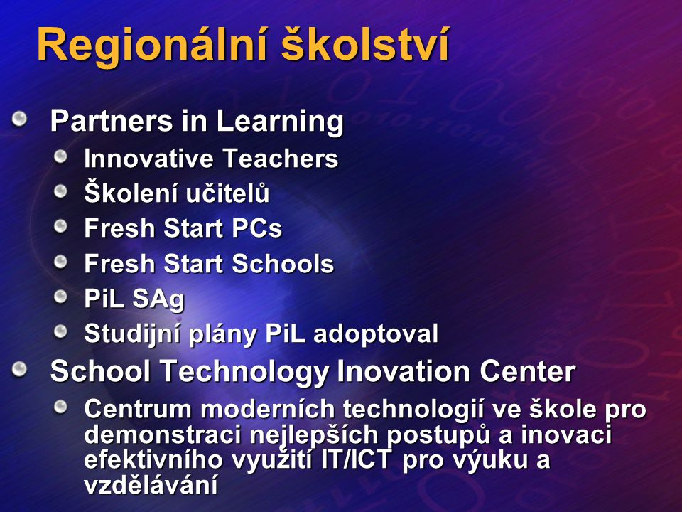 Regionální školství Partners in Learning