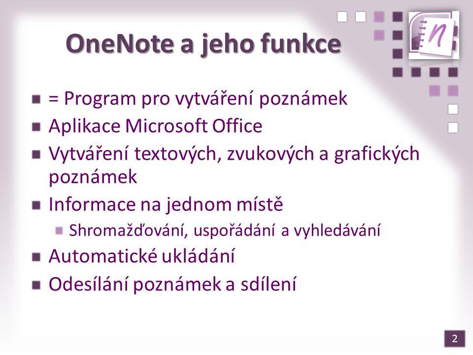 OneNote a jeho funkce = Program pro vytváření poznámek