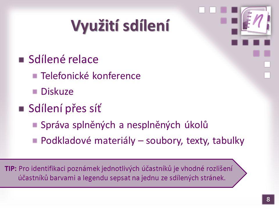 Využití sdílení Sdílené relace Sdílení přes síť Telefonické konference