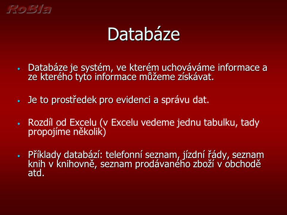 Databáze Databáze je systém, ve kterém uchováváme informace a ze kterého tyto informace můžeme získávat.