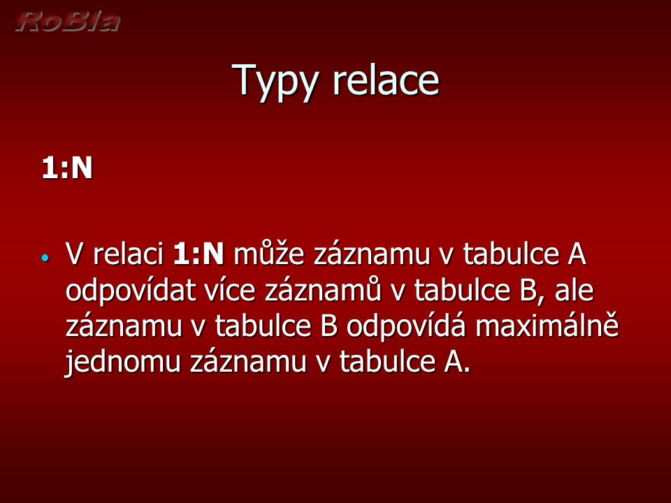 Typy relace 1:N.