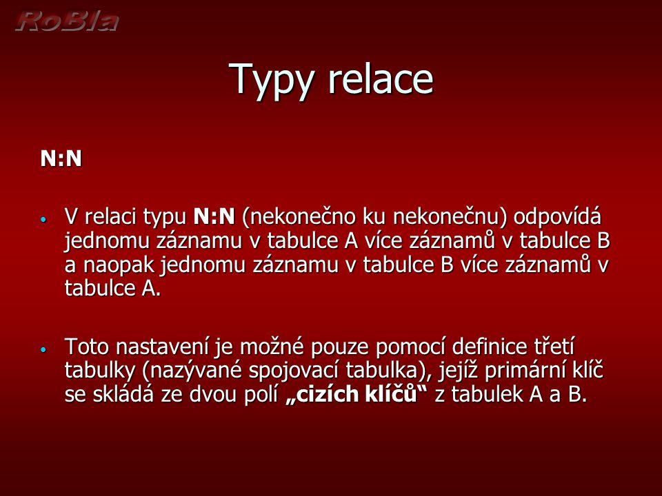Typy relace N:N.