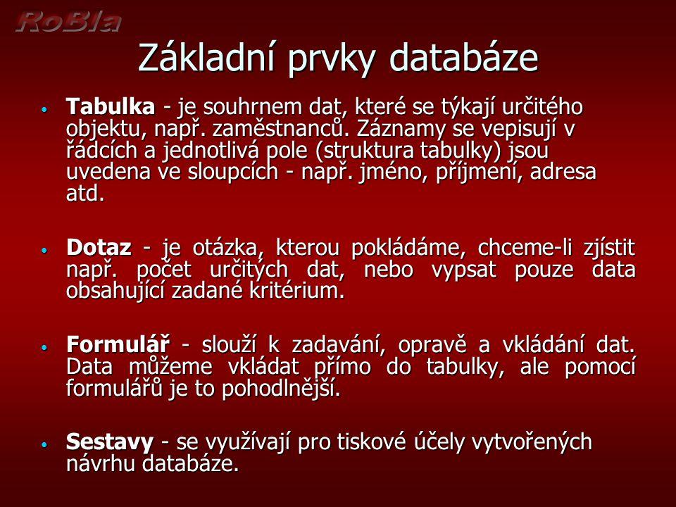 Základní prvky databáze