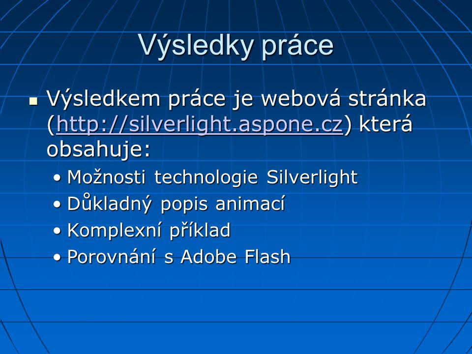 Výsledky práce Výsledkem práce je webová stránka (http://silverlight.aspone.cz) která obsahuje: Možnosti technologie Silverlight.