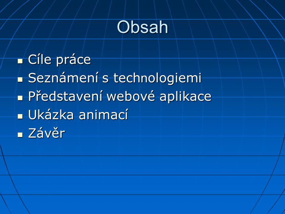 Obsah Cíle práce Seznámení s technologiemi Představení webové aplikace