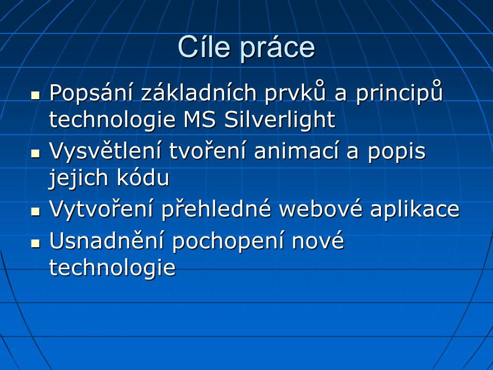 Cíle práce Popsání základních prvků a principů technologie MS Silverlight. Vysvětlení tvoření animací a popis jejich kódu.