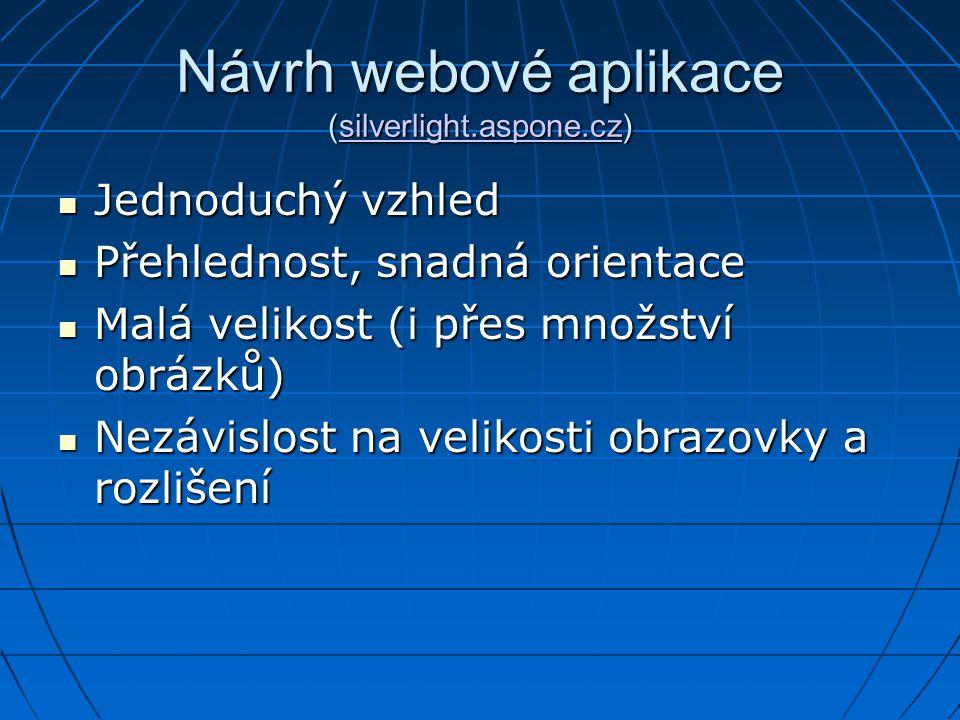 Návrh webové aplikace (silverlight.aspone.cz)