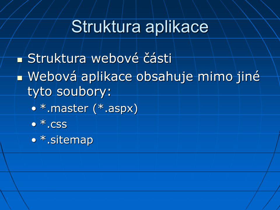 Struktura aplikace Struktura webové části