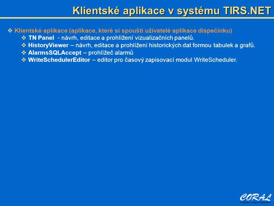 Klientské aplikace v systému TIRS.NET