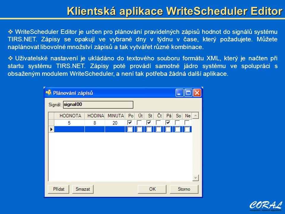 Klientská aplikace WriteScheduler Editor