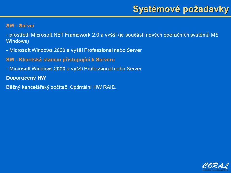 Systémové požadavky SW - Server