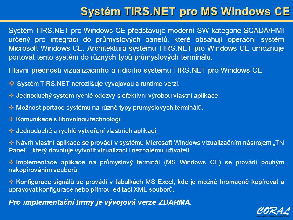 Systém TIRS.NET pro MS Windows CE