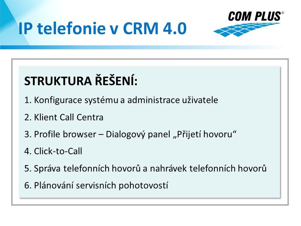 IP telefonie v CRM 4.0 STRUKTURA ŘEŠENÍ: