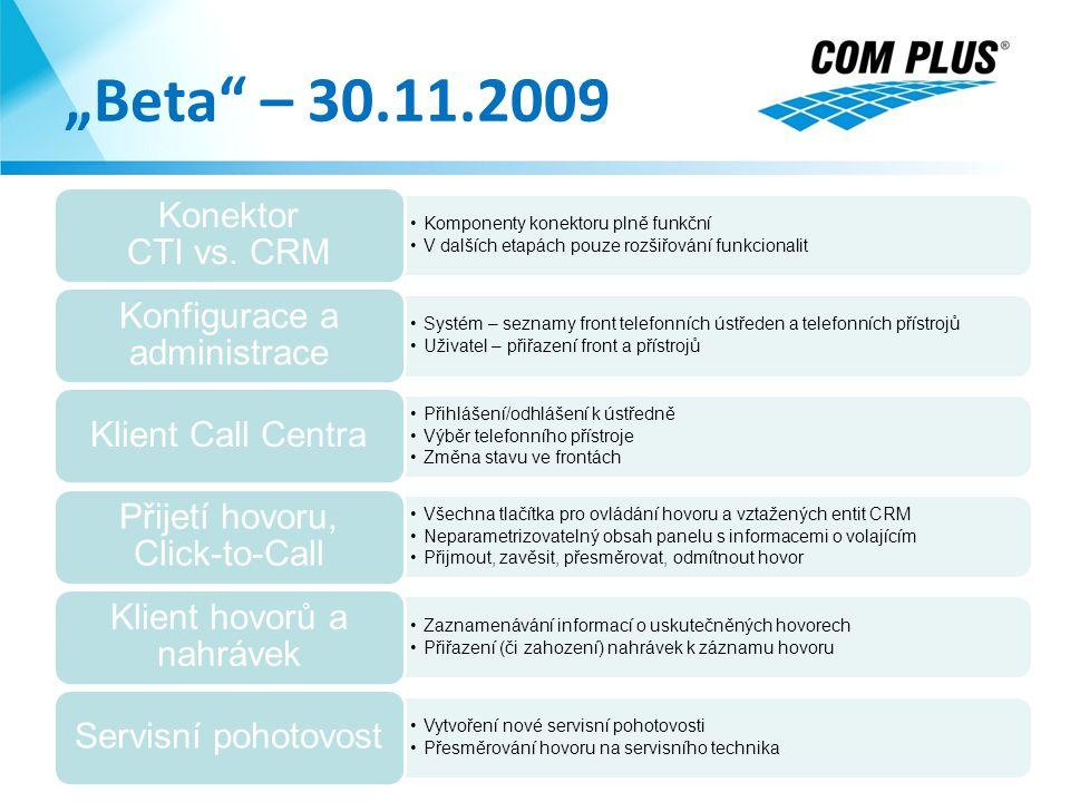 """""""Beta – 30.11.2009 5.4.2017 Konektor CTI vs. CRM"""