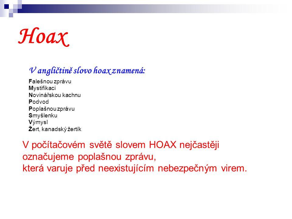 Hoax V angličtině slovo hoax znamená: