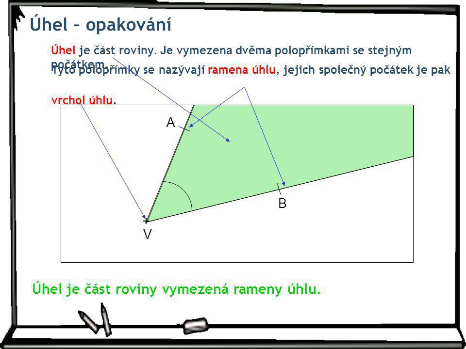 Úhel – opakování Úhel je část roviny vymezená rameny úhlu. A B + V