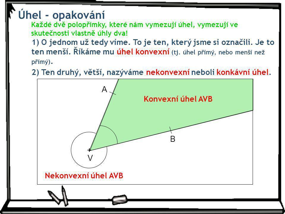 Úhel - opakování Každé dvě polopřímky, které nám vymezují úhel, vymezují ve skutečnosti vlastně úhly dva!