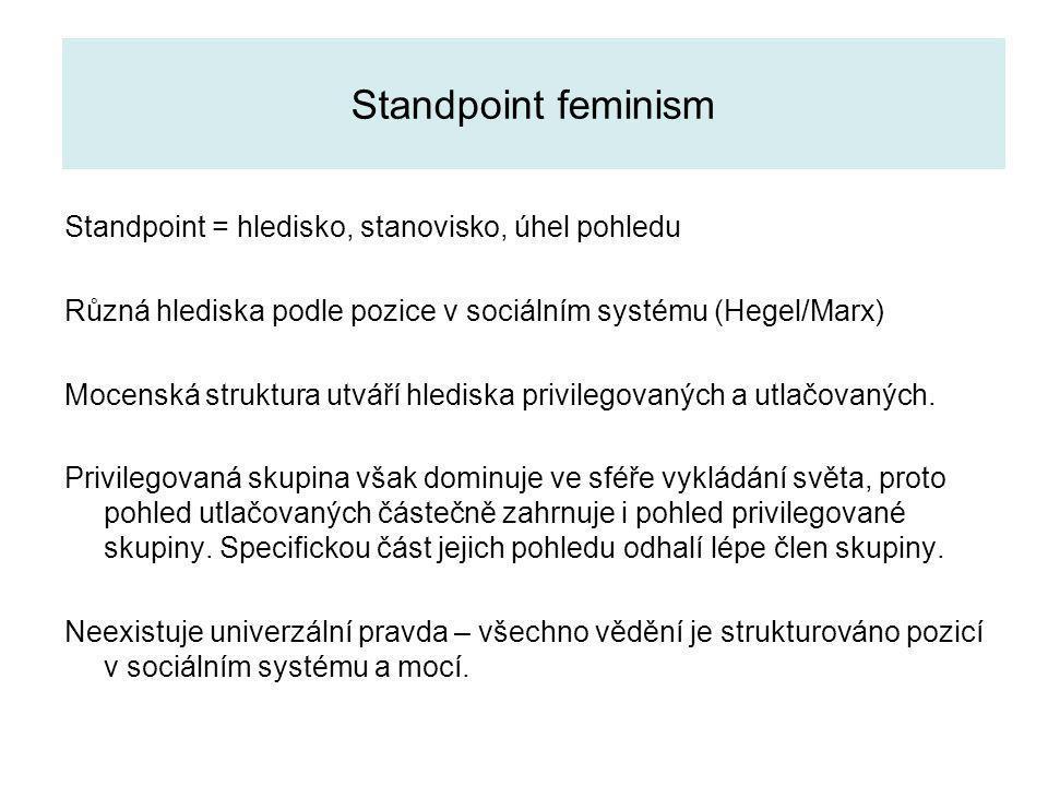 Standpoint feminism Standpoint = hledisko, stanovisko, úhel pohledu