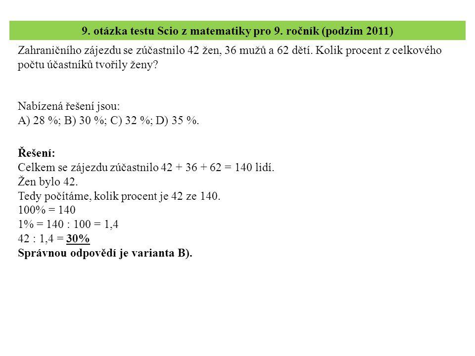 9. otázka testu Scio z matematiky pro 9. ročník (podzim 2011)