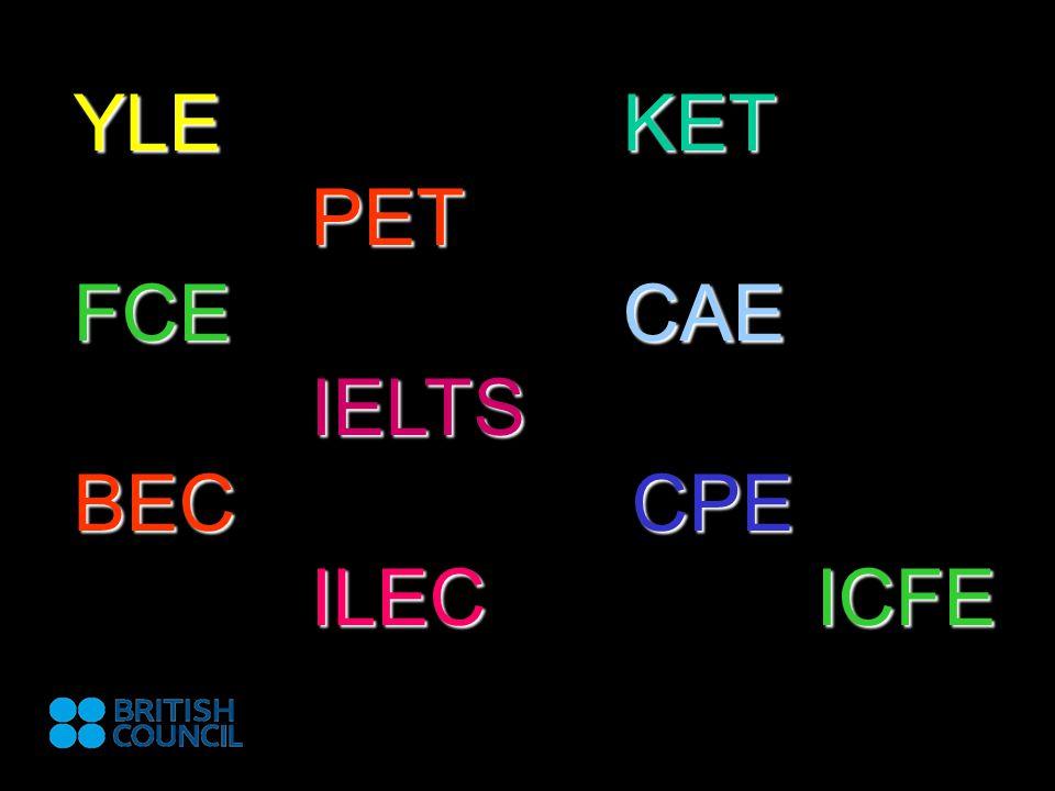 YLE KET PET FCE CAE IELTS BEC CPE ILEC ICFE
