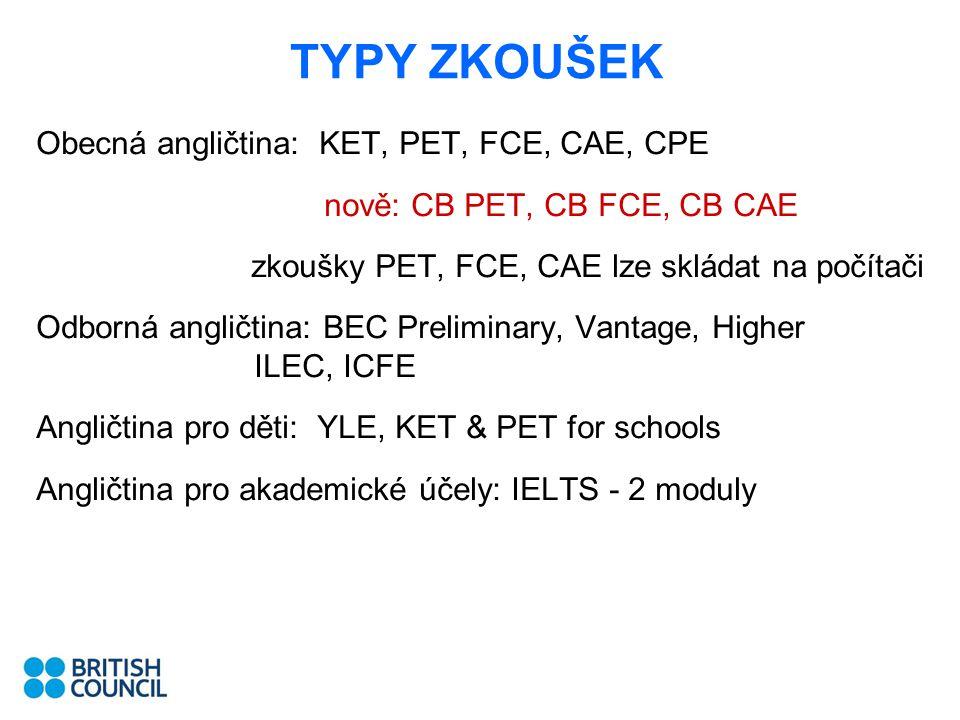 TYPY ZKOUŠEK Obecná angličtina: KET, PET, FCE, CAE, CPE