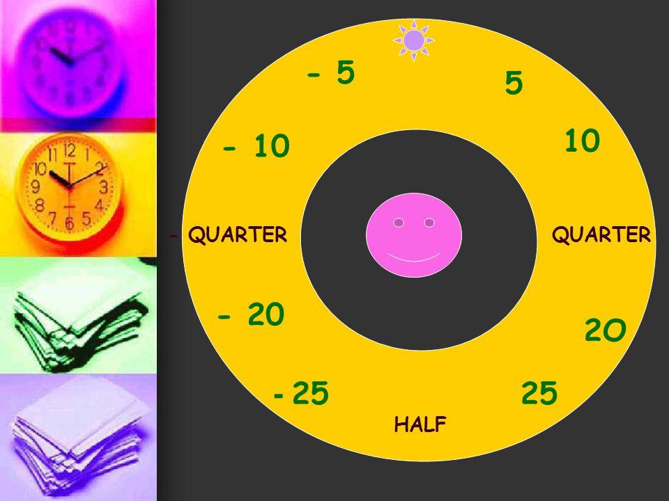 - 5 5 10 - 10 - QUARTER QUARTER - 20 2O - 25 25 HALF