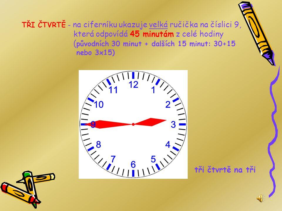 TŘI ČTVRTĚ - na ciferníku ukazuje velká ručička na číslici 9, která odpovídá 45 minutám z celé hodiny (původních 30 minut + dalších 15 minut: 30+15 nebo 3x15)