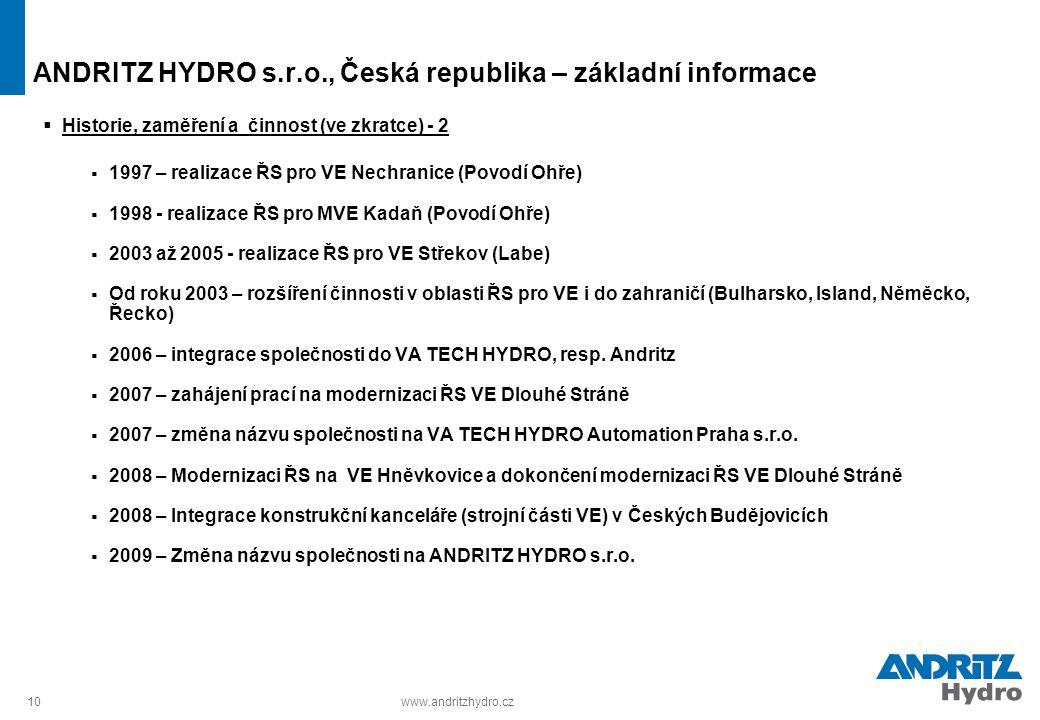 ANDRITZ HYDRO s.r.o., Česká republika – základní informace