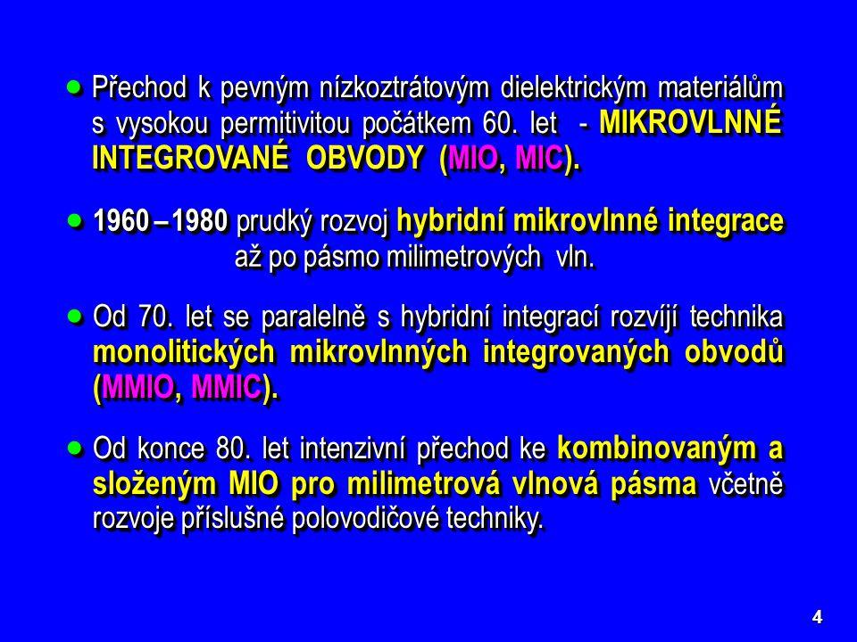 Přechod k pevným nízkoztrátovým dielektrickým materiálům s vysokou permitivitou počátkem 60. let - MIKROVLNNÉ INTEGROVANÉ OBVODY (MIO, MIC).