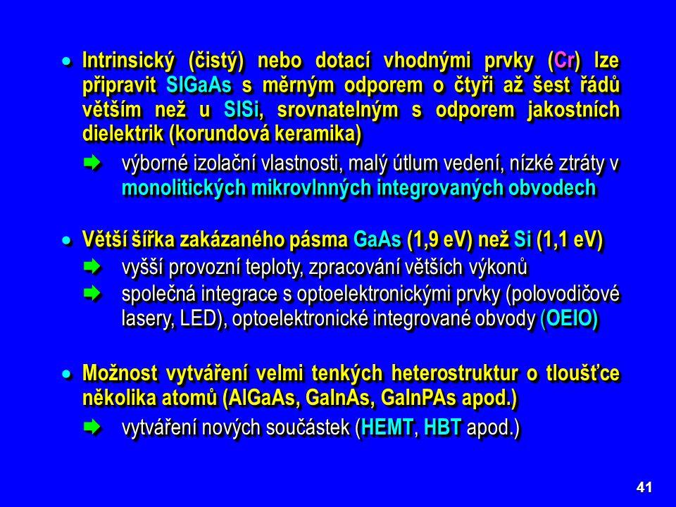 Větší šířka zakázaného pásma GaAs (1,9 eV) než Si (1,1 eV)