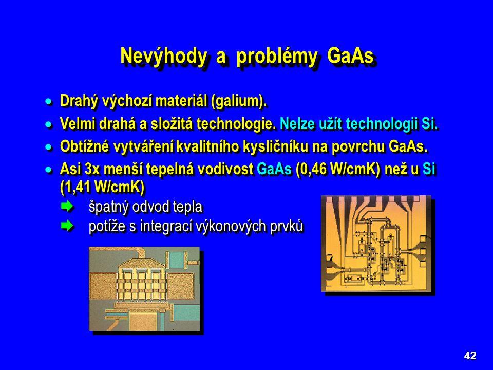 Nevýhody a problémy GaAs