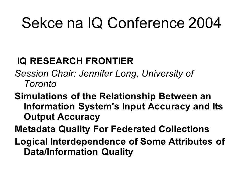 Sekce na IQ Conference 2004 IQ RESEARCH FRONTIER