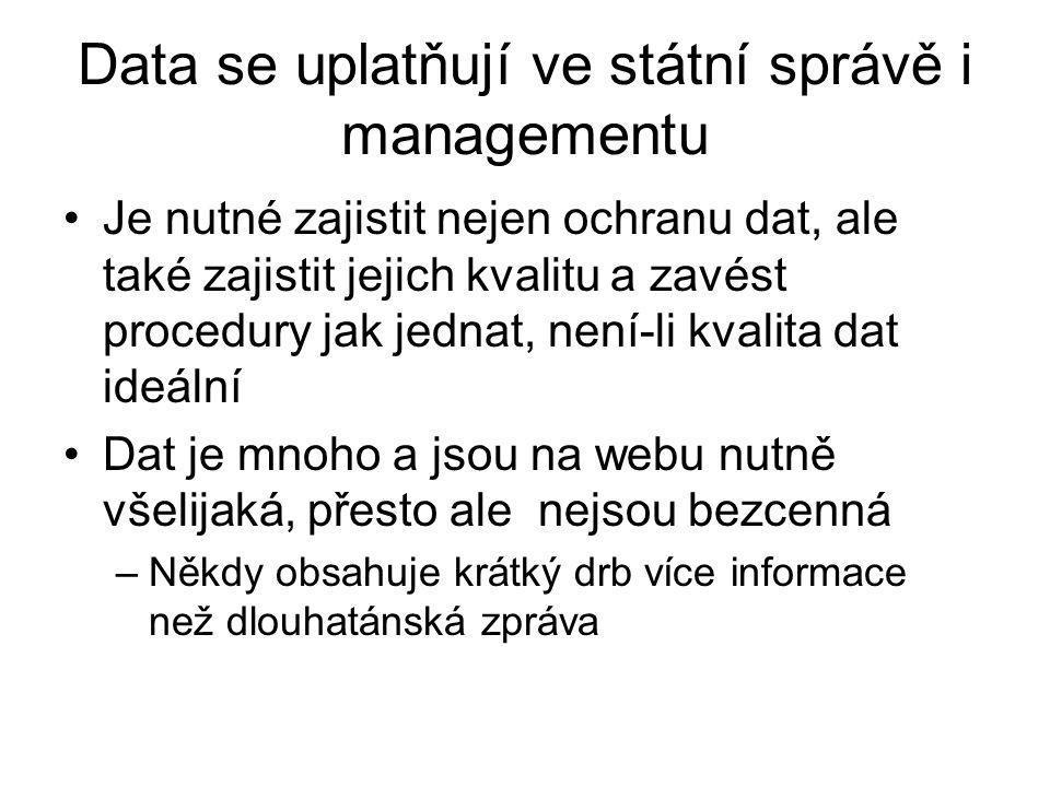 Data se uplatňují ve státní správě i managementu