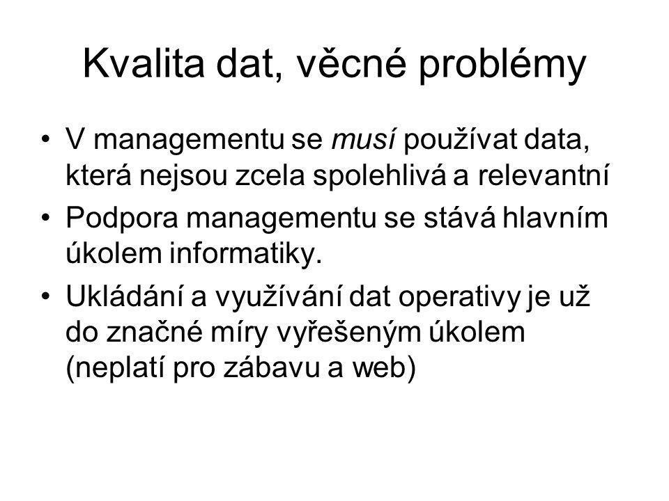 Kvalita dat, věcné problémy