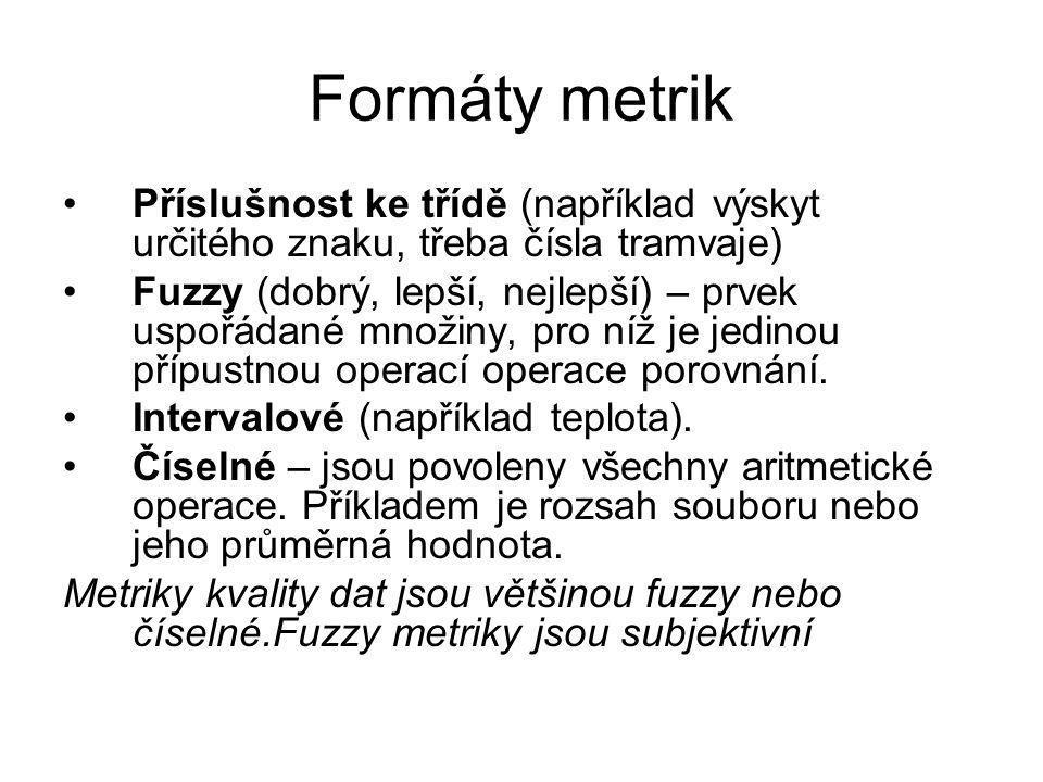Formáty metrik Příslušnost ke třídě (například výskyt určitého znaku, třeba čísla tramvaje)