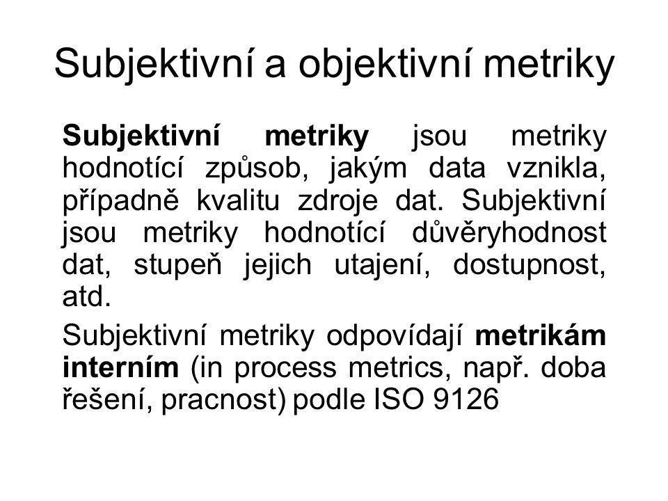 Subjektivní a objektivní metriky