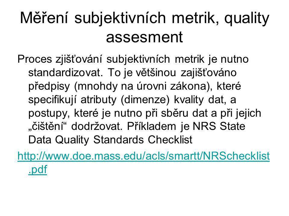 Měření subjektivních metrik, quality assesment