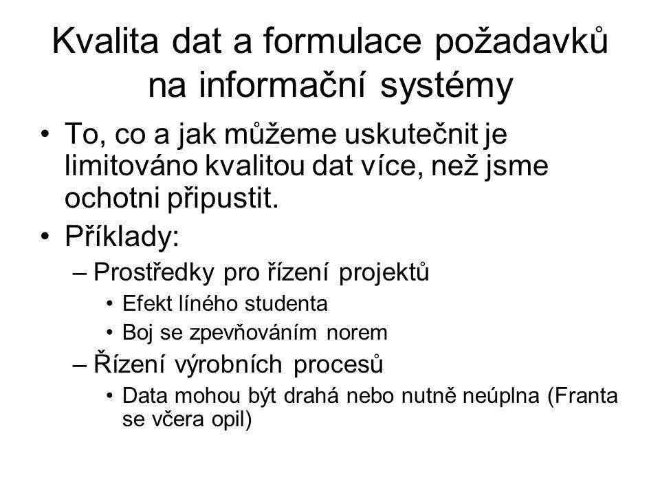 Kvalita dat a formulace požadavků na informační systémy