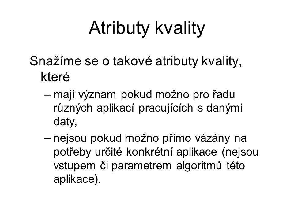 Atributy kvality Snažíme se o takové atributy kvality, které