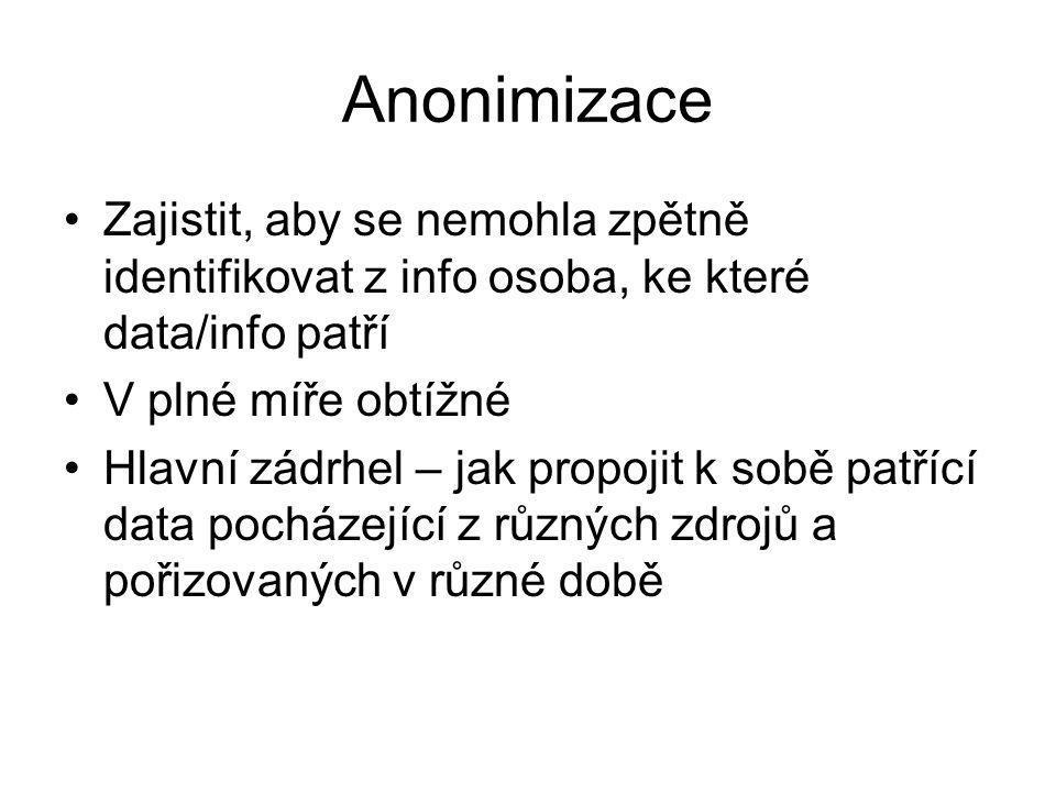 Anonimizace Zajistit, aby se nemohla zpětně identifikovat z info osoba, ke které data/info patří. V plné míře obtížné.